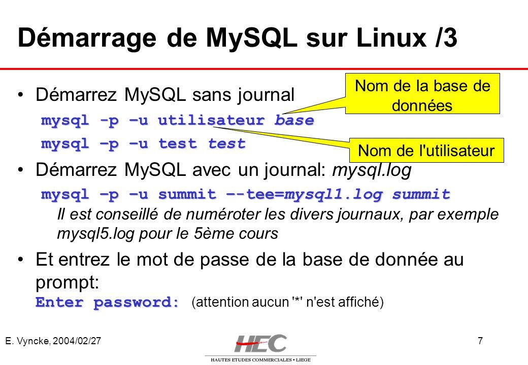 Démarrage de MySQL sur Linux /3