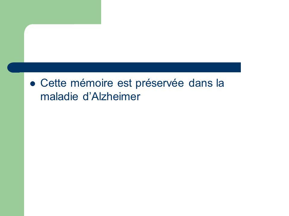 Cette mémoire est préservée dans la maladie d'Alzheimer