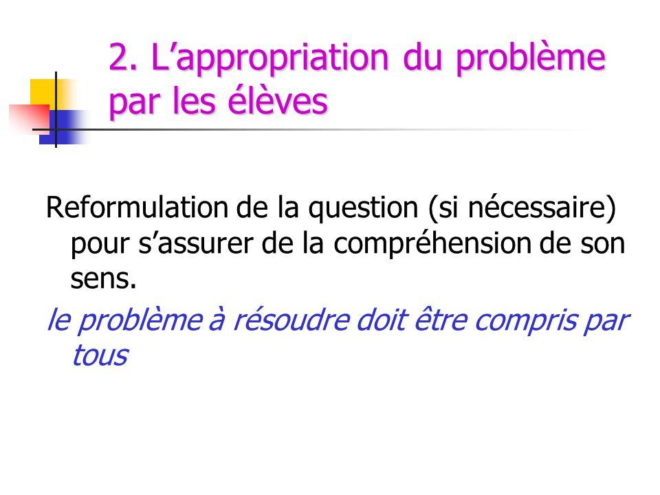 2. L'appropriation du problème par les élèves
