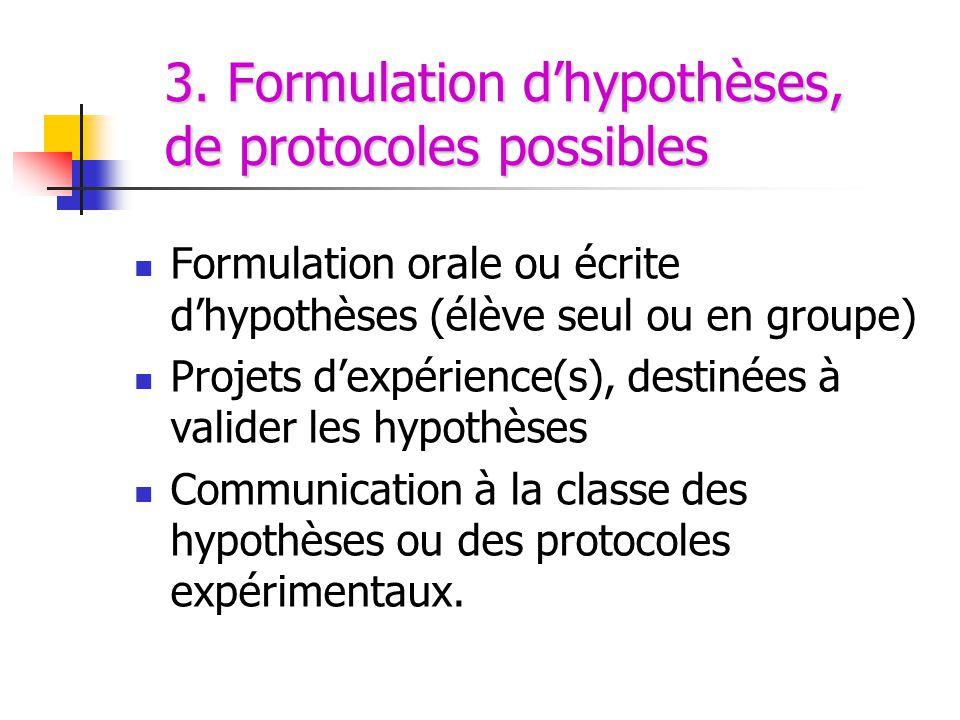 3. Formulation d'hypothèses, de protocoles possibles