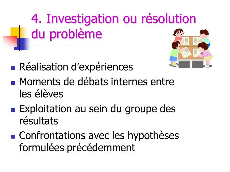4. Investigation ou résolution du problème
