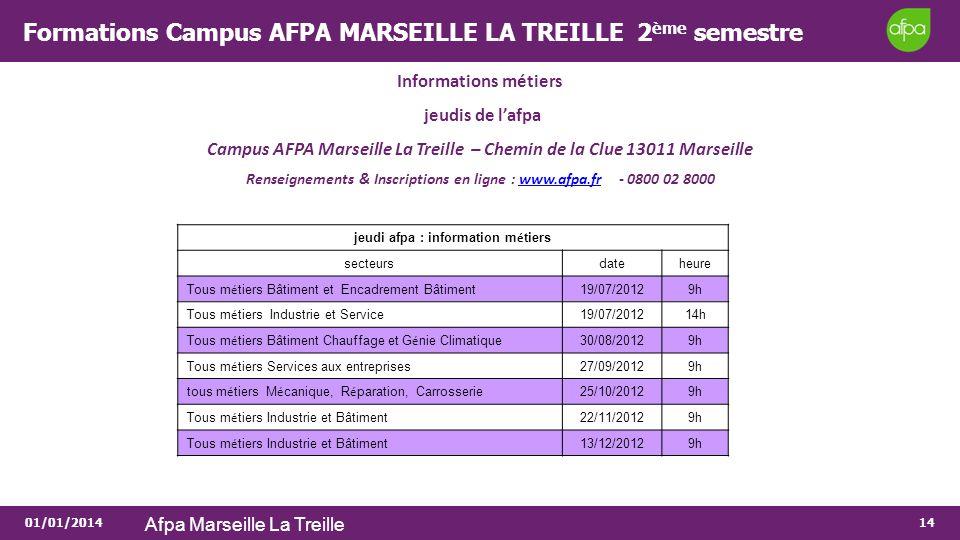Formations Campus AFPA MARSEILLE LA TREILLE 2ème semestre
