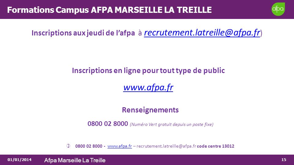 Formations Campus AFPA MARSEILLE LA TREILLE