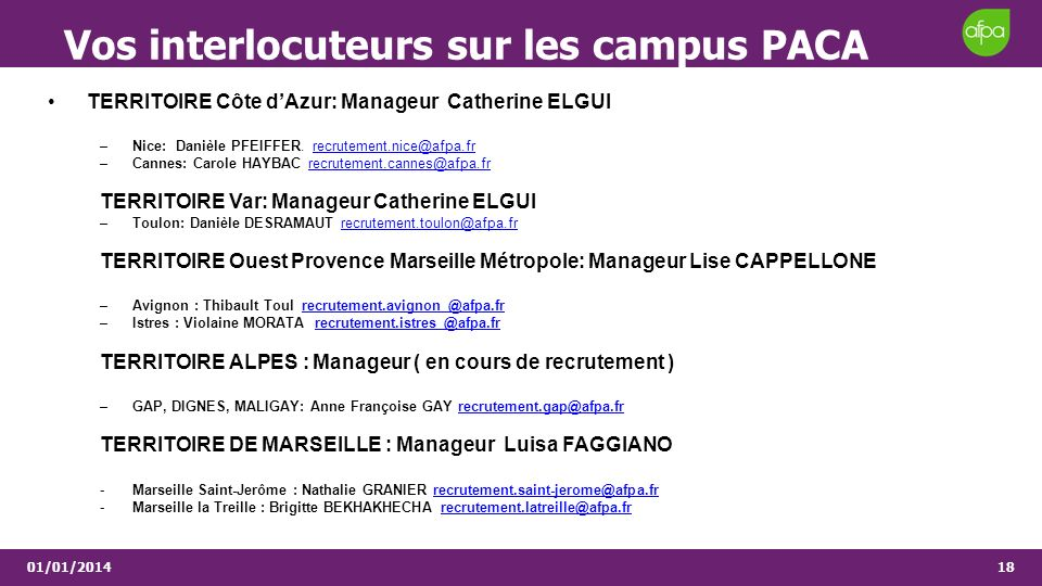 Vos interlocuteurs sur les campus PACA