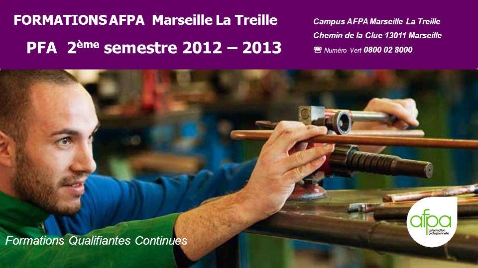 FORMATIONS AFPA Marseille La Treille PFA 2ème semestre 2012 – 2013