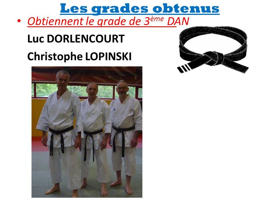 Les grades obtenus Obtiennent le grade de 3ème DAN Luc DORLENCOURT