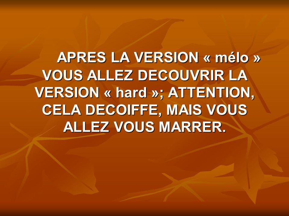 APRES LA VERSION « mélo » VOUS ALLEZ DECOUVRIR LA VERSION « hard »; ATTENTION, CELA DECOIFFE, MAIS VOUS ALLEZ VOUS MARRER.
