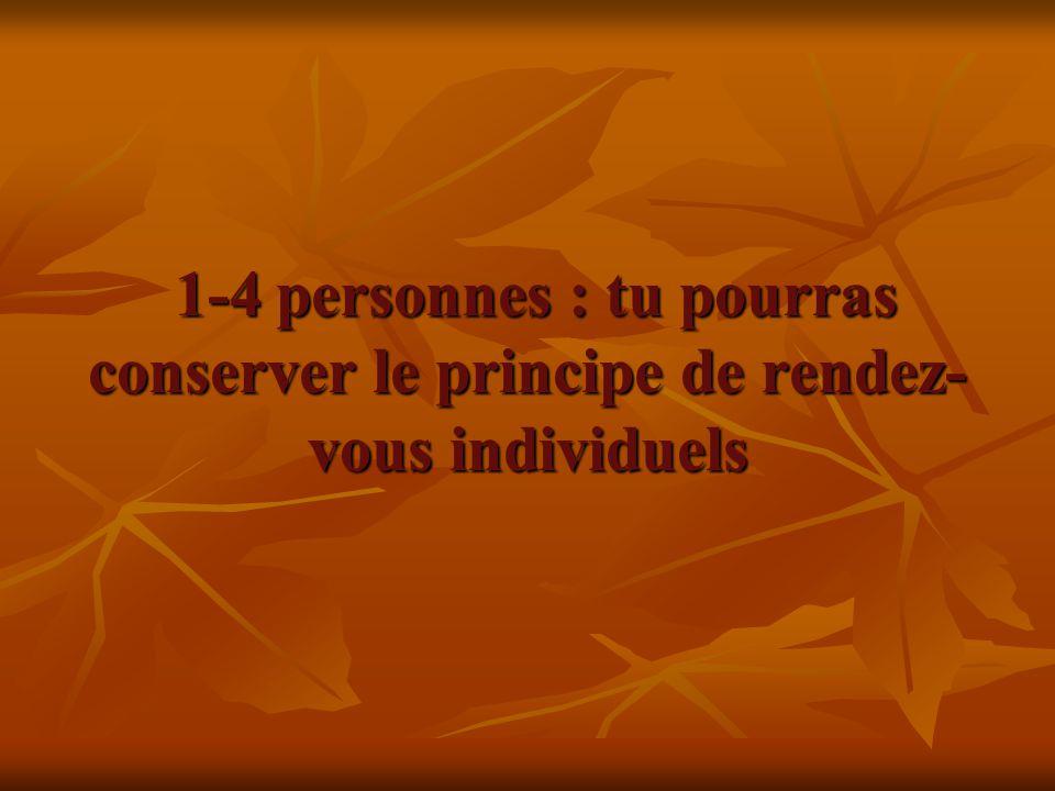 1-4 personnes : tu pourras conserver le principe de rendez-vous individuels