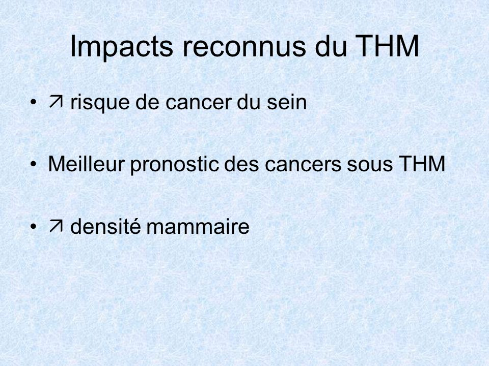 Impacts reconnus du THM