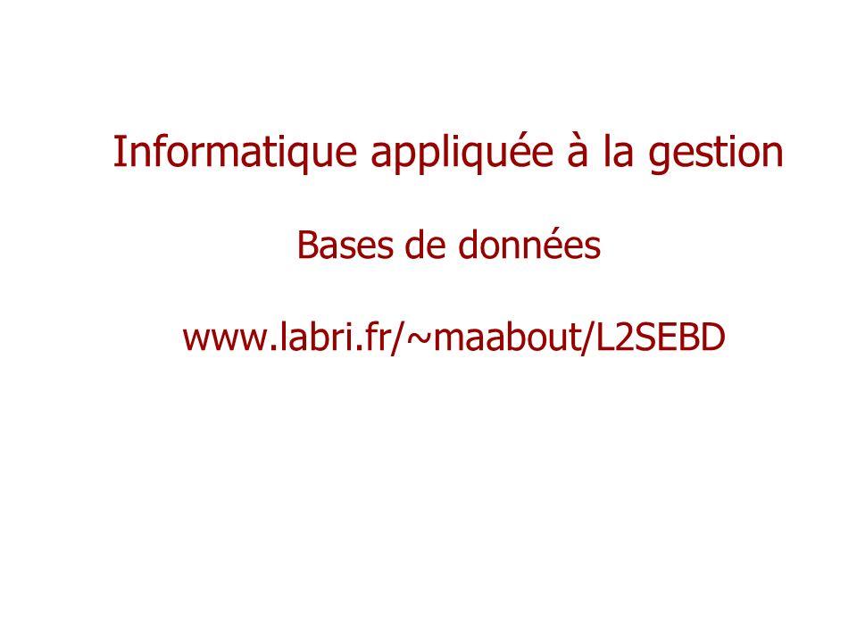 Informatique appliquée à la gestion Bases de données www. labri