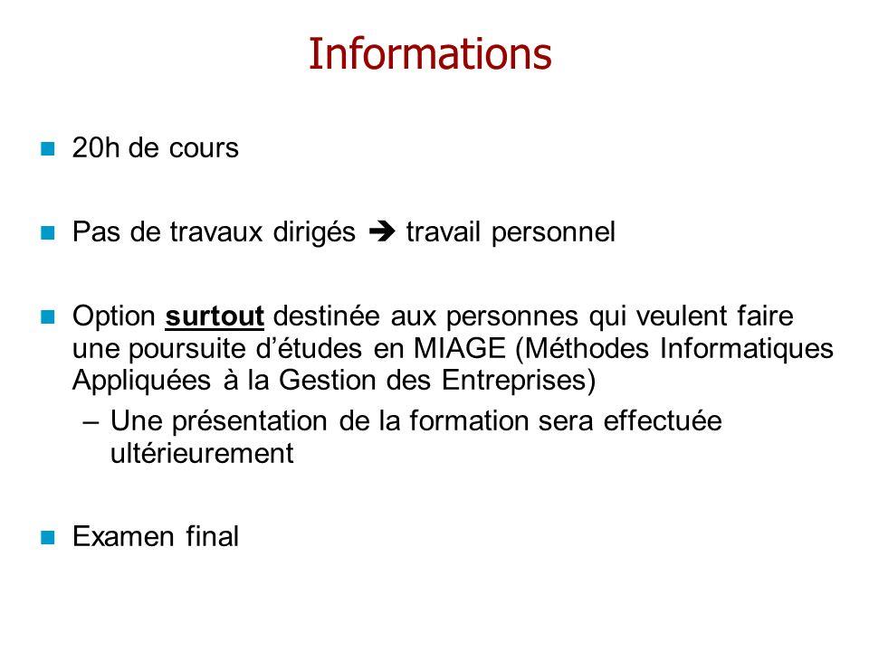 Informations 20h de cours Pas de travaux dirigés  travail personnel