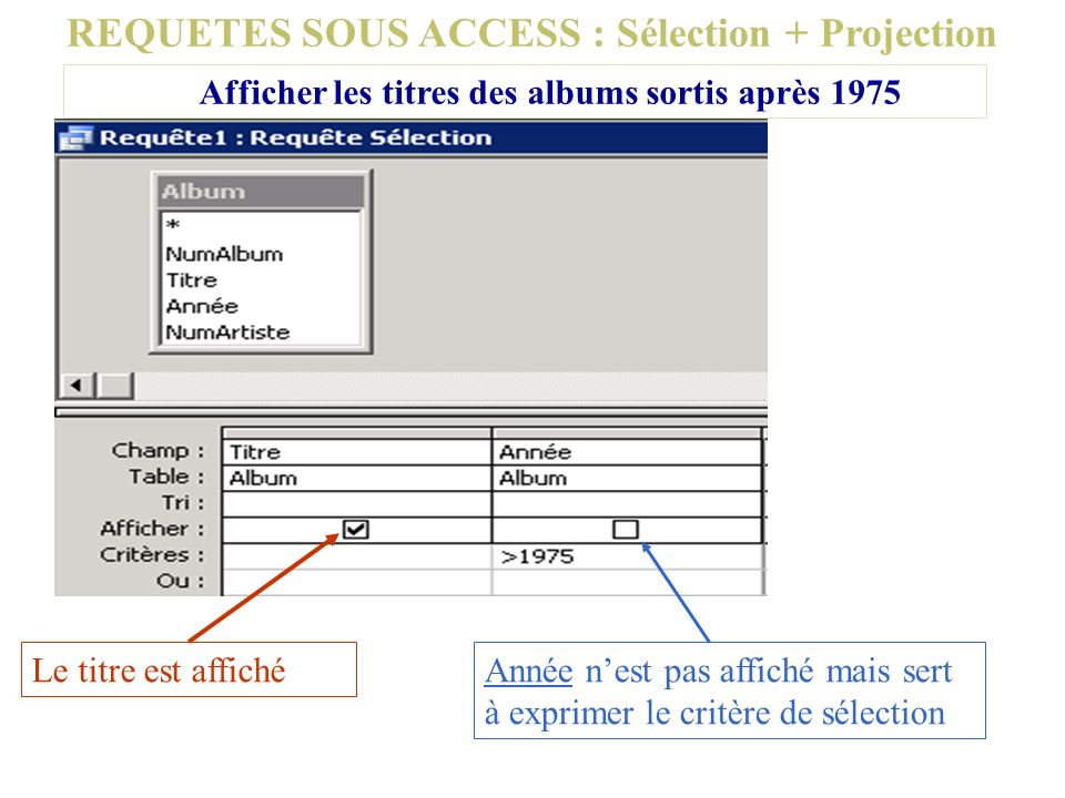 REQUETES SOUS ACCESS : Sélection + Projection