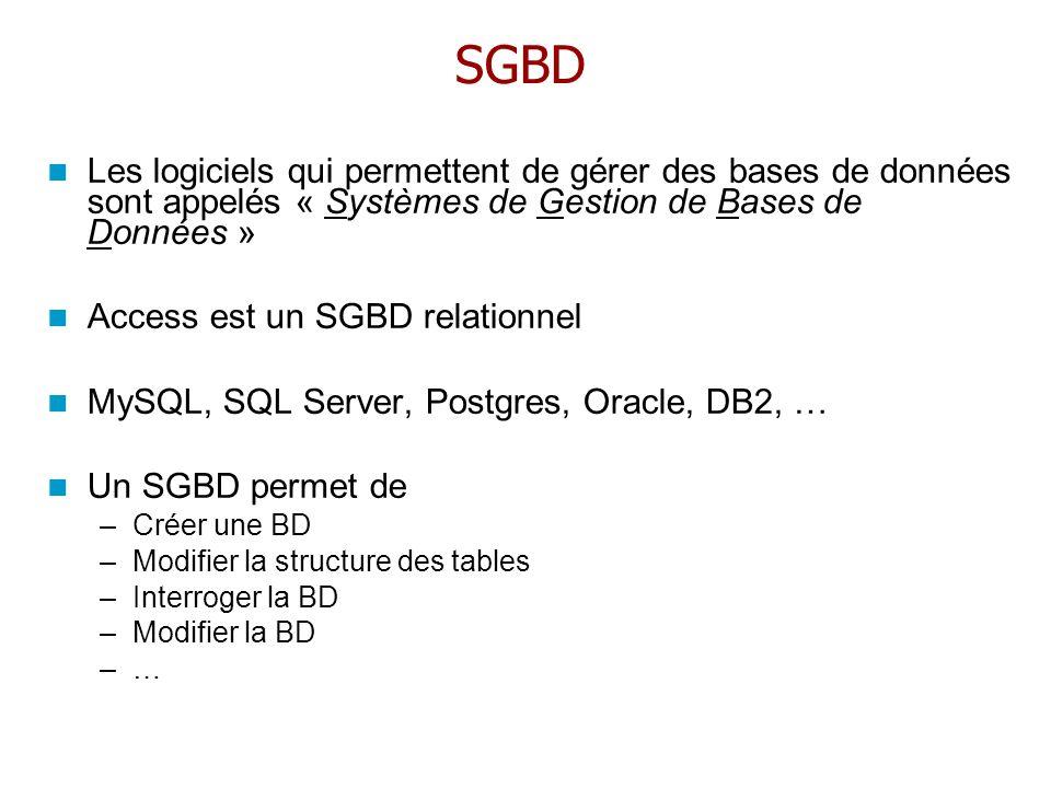 SGBDLes logiciels qui permettent de gérer des bases de données sont appelés « Systèmes de Gestion de Bases de Données »