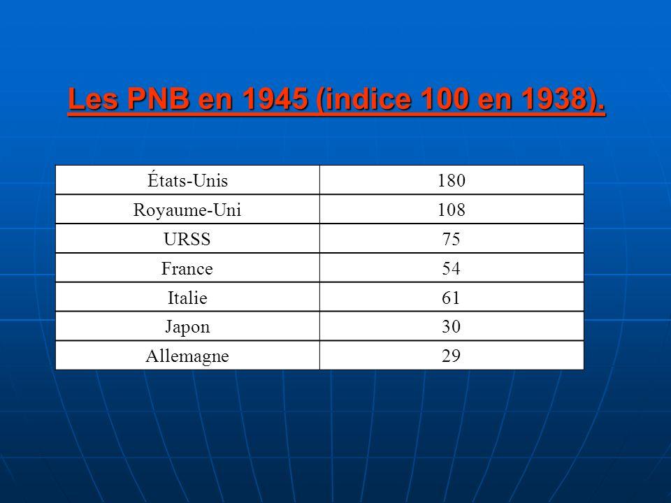 Les PNB en 1945 (indice 100 en 1938). États-Unis 180 Royaume-Uni 108