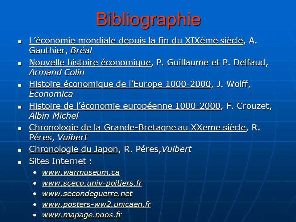 Bibliographie L'économie mondiale depuis la fin du XIXème siècle, A. Gauthier, Bréal.