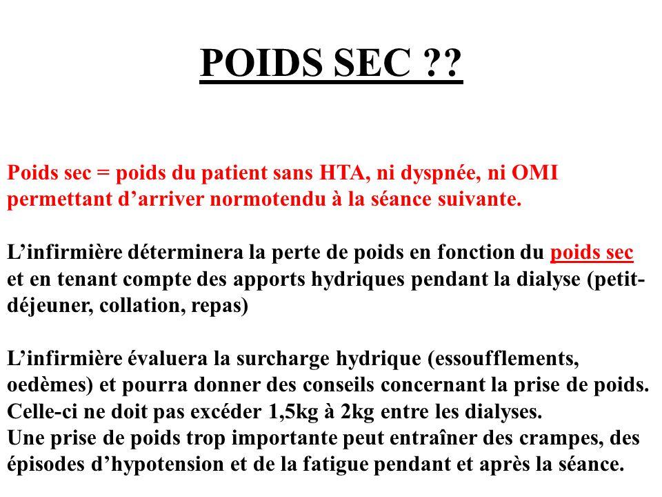 POIDS SEC Poids sec = poids du patient sans HTA, ni dyspnée, ni OMI permettant d'arriver normotendu à la séance suivante.