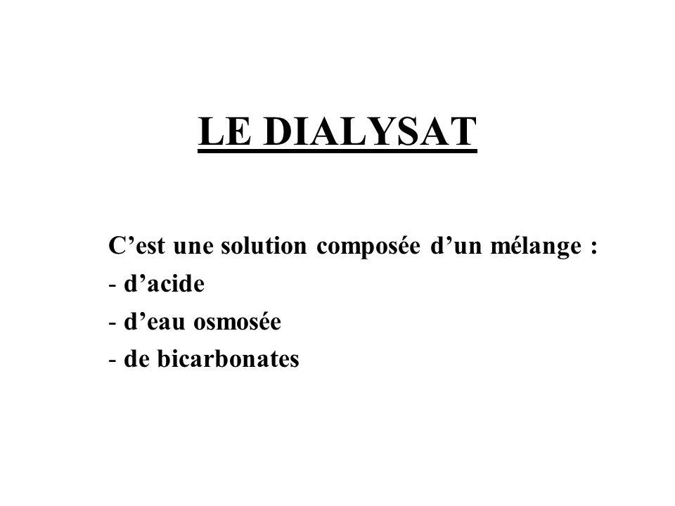 LE DIALYSAT C'est une solution composée d'un mélange : d'acide