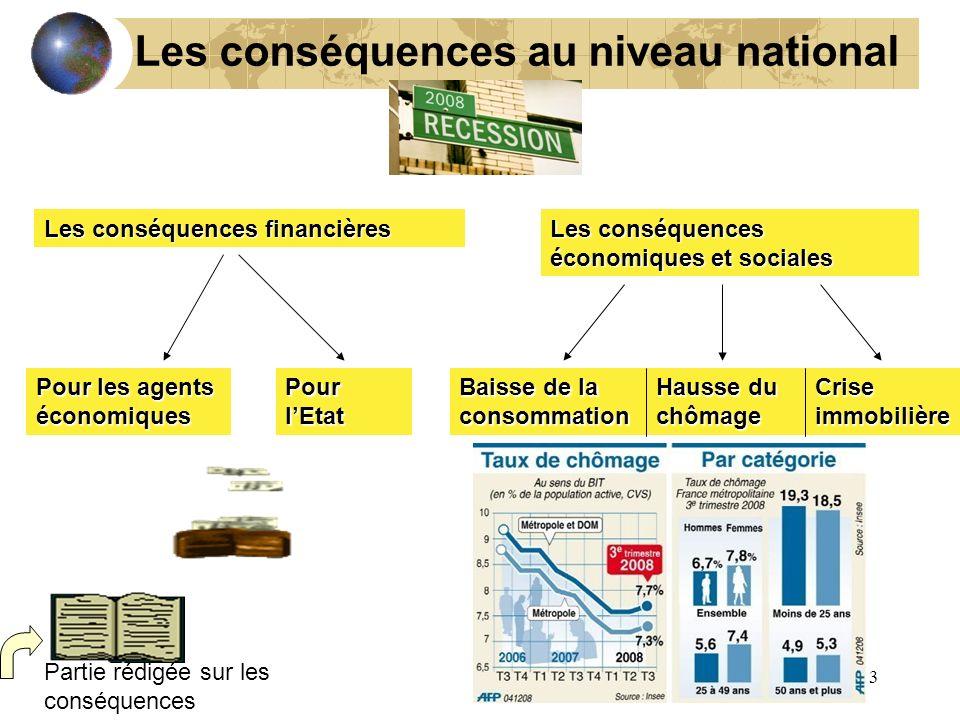 Les conséquences au niveau national