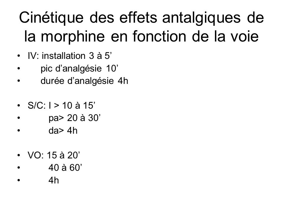 Cinétique des effets antalgiques de la morphine en fonction de la voie