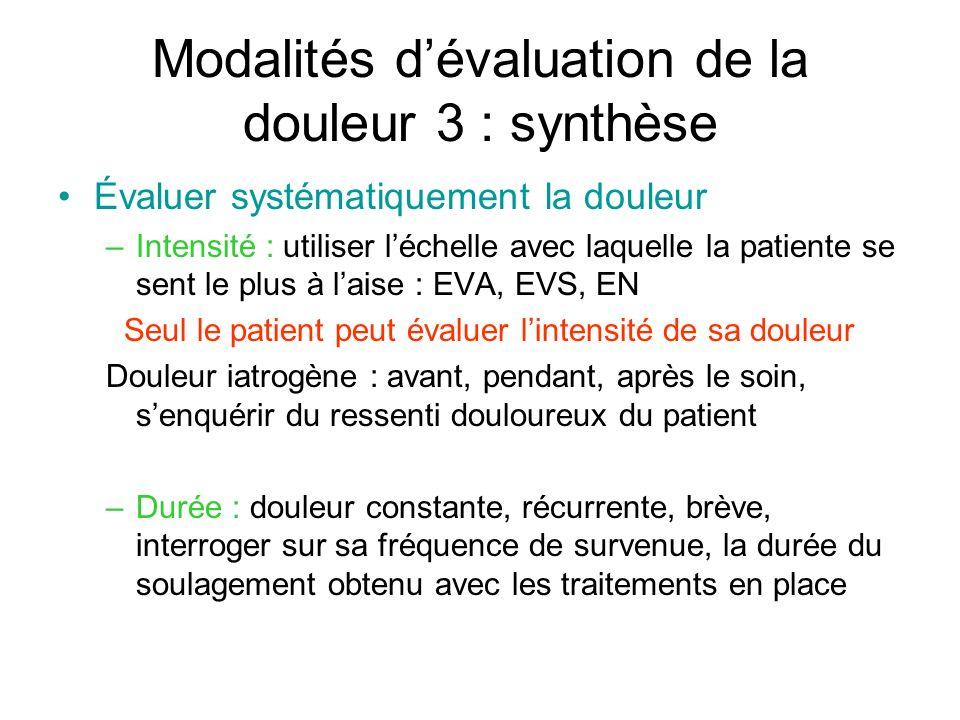 Modalités d'évaluation de la douleur 3 : synthèse