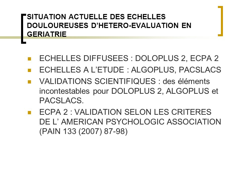 ECHELLES DIFFUSEES : DOLOPLUS 2, ECPA 2