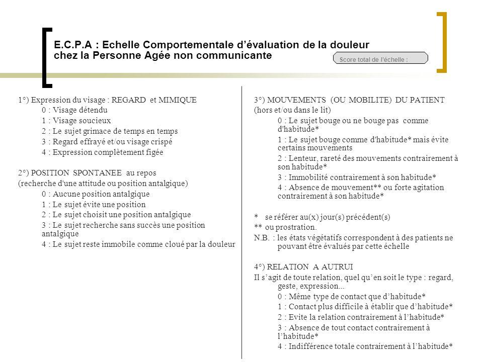 E.C.P.A : Echelle Comportementale d'évaluation de la douleur chez la Personne Agée non communicante