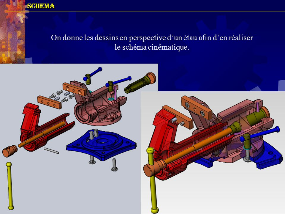 SCHEMA On donne les dessins en perspective d'un étau afin d'en réaliser le schéma cinématique.