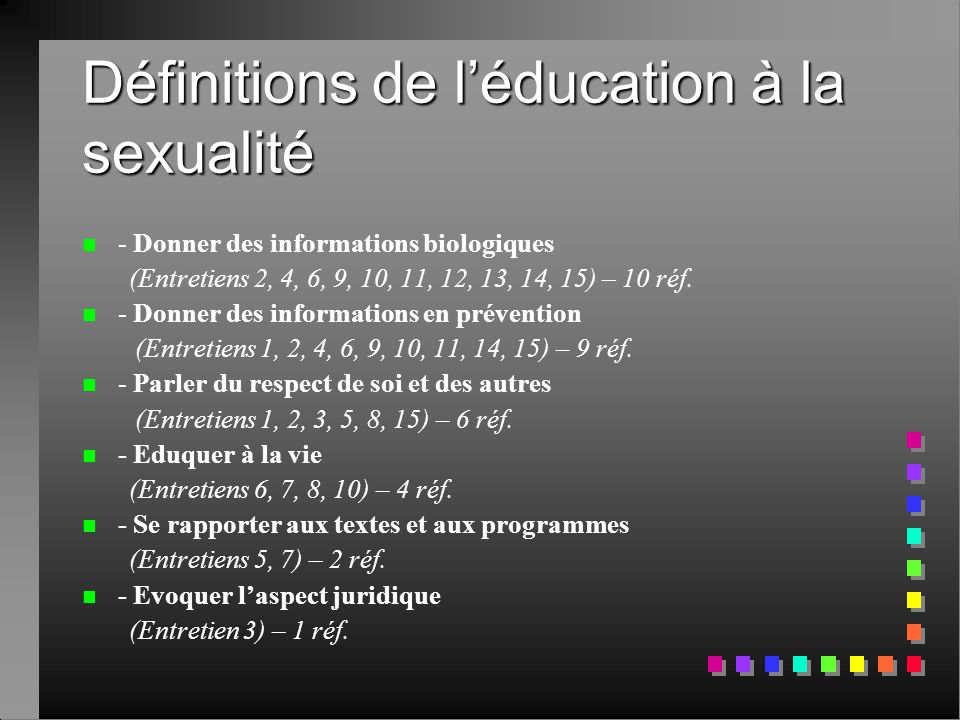 Définitions de l'éducation à la sexualité