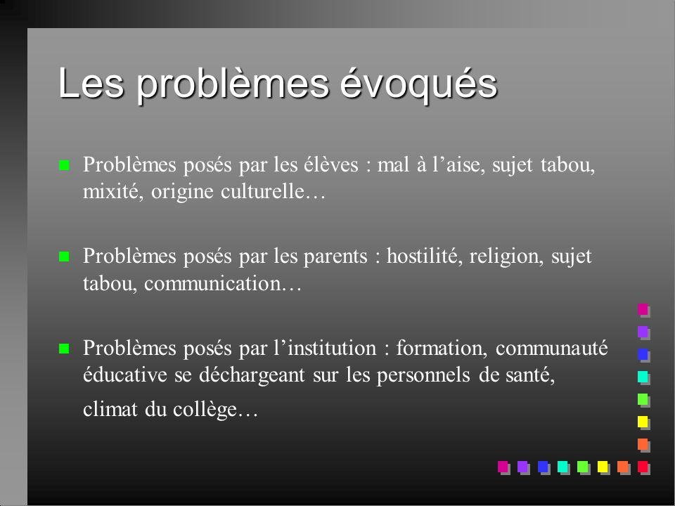 Les problèmes évoqués Problèmes posés par les élèves : mal à l'aise, sujet tabou, mixité, origine culturelle…
