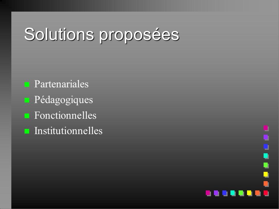 Solutions proposées Partenariales Pédagogiques Fonctionnelles