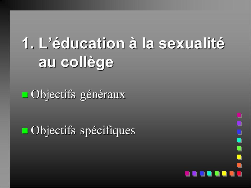 1. L'éducation à la sexualité au collège