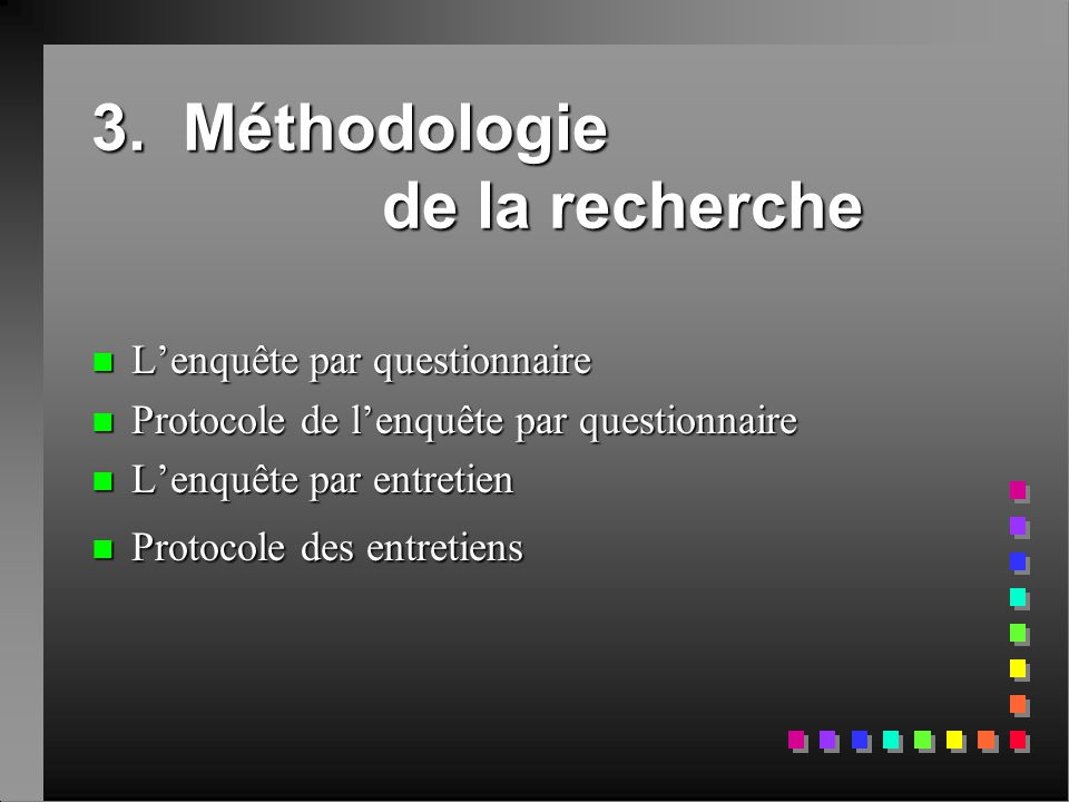 3. Méthodologie de la recherche