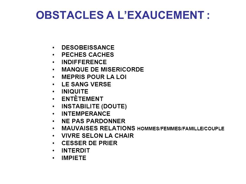 OBSTACLES A L'EXAUCEMENT :