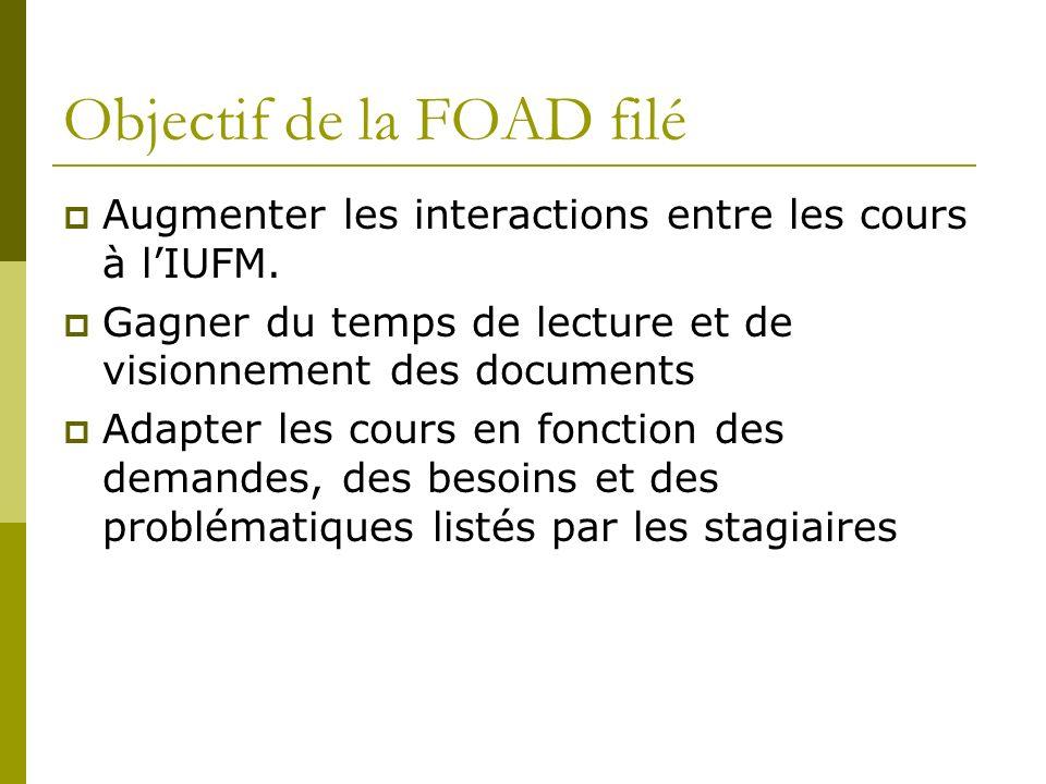 Objectif de la FOAD filé