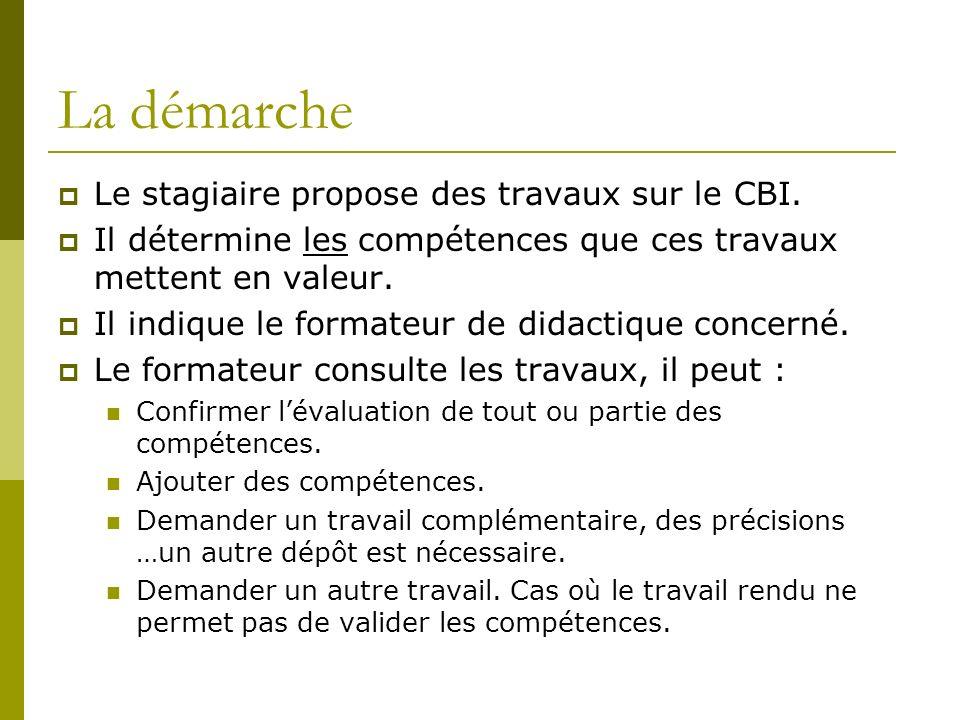 La démarche Le stagiaire propose des travaux sur le CBI.