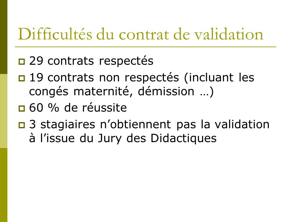 Difficultés du contrat de validation