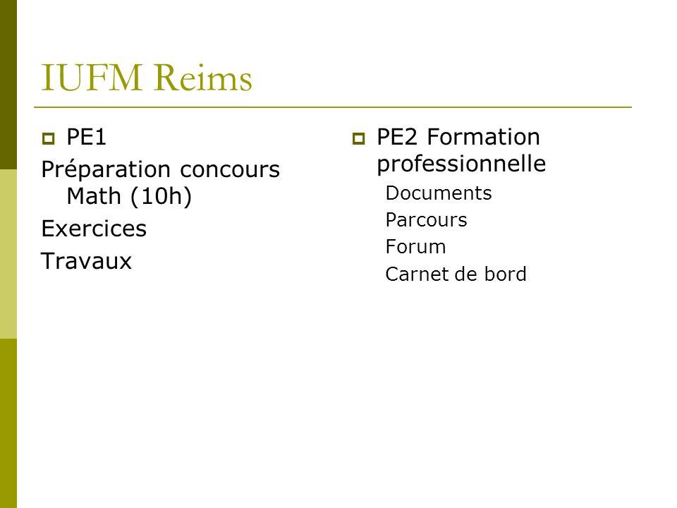 IUFM Reims PE1 Préparation concours Math (10h) Exercices Travaux