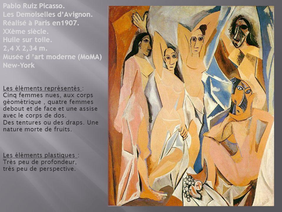 Pablo Ruiz Picasso. Les Demoiselles d'Avignon. Réalisé à Paris en1907.