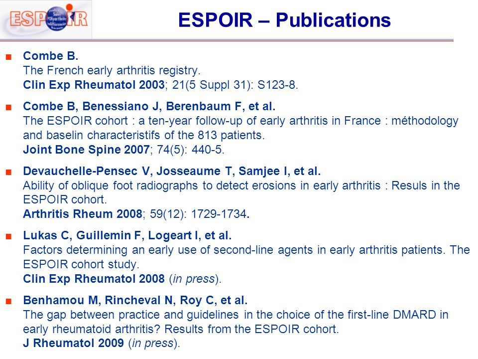 ESPOIR – Publications Combe B. The French early arthritis registry.