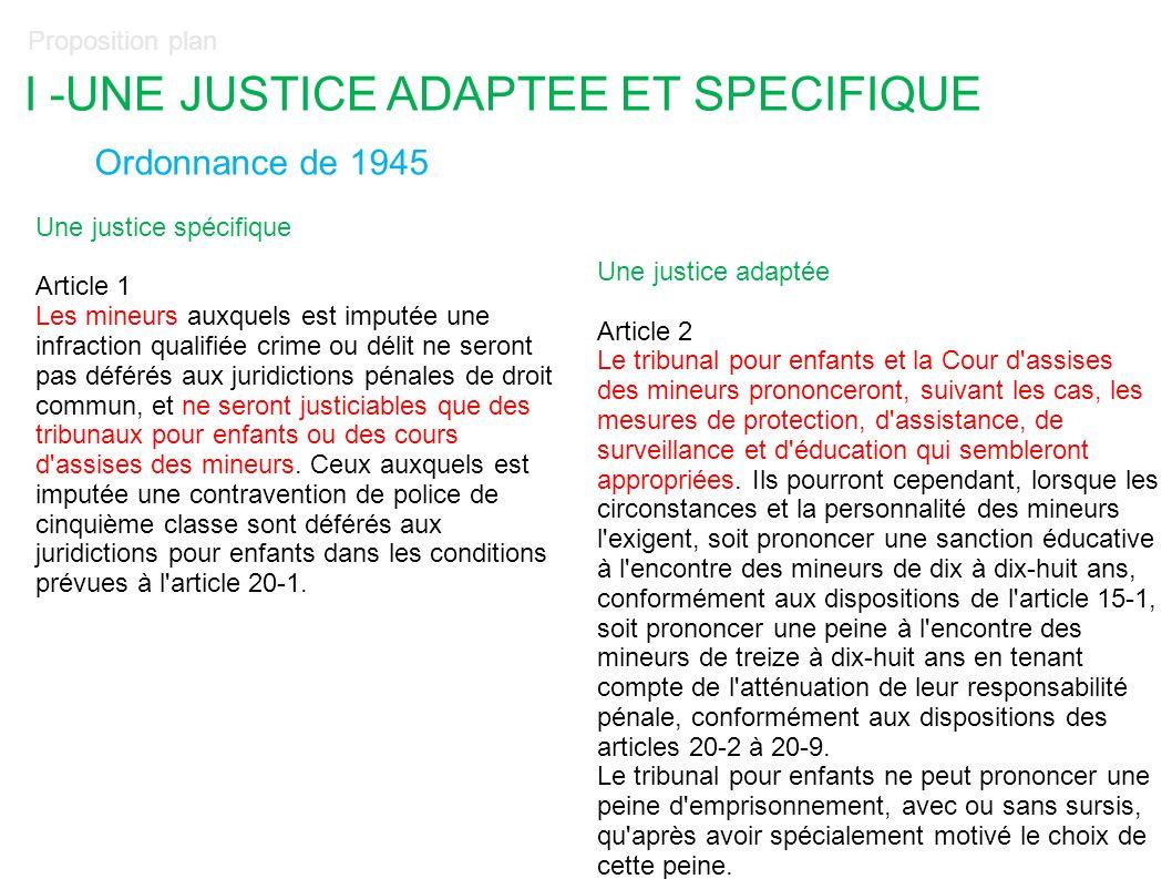 I -UNE JUSTICE ADAPTEE ET SPECIFIQUE