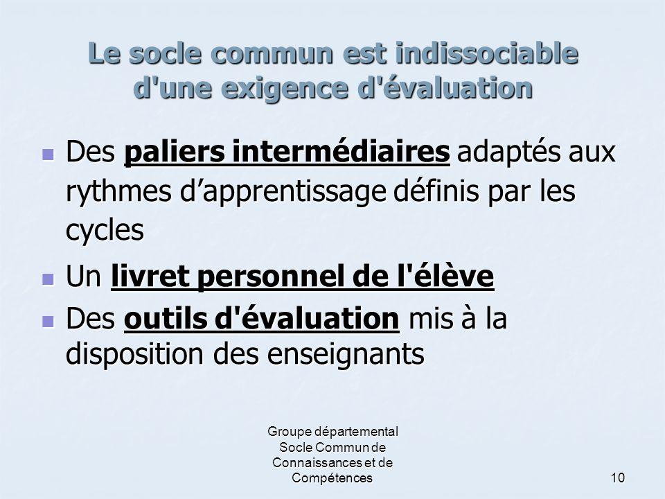 Le socle commun est indissociable d une exigence d évaluation