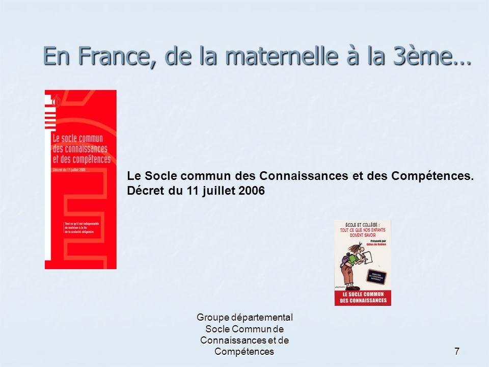 En France, de la maternelle à la 3ème…