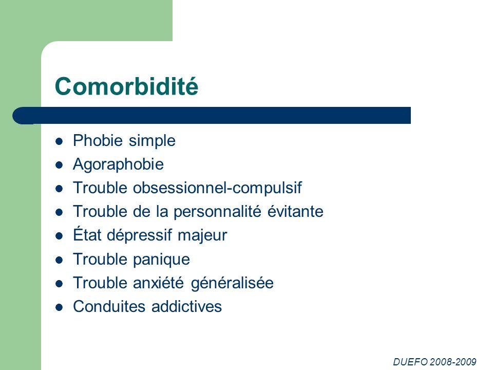 Comorbidité Phobie simple Agoraphobie Trouble obsessionnel-compulsif