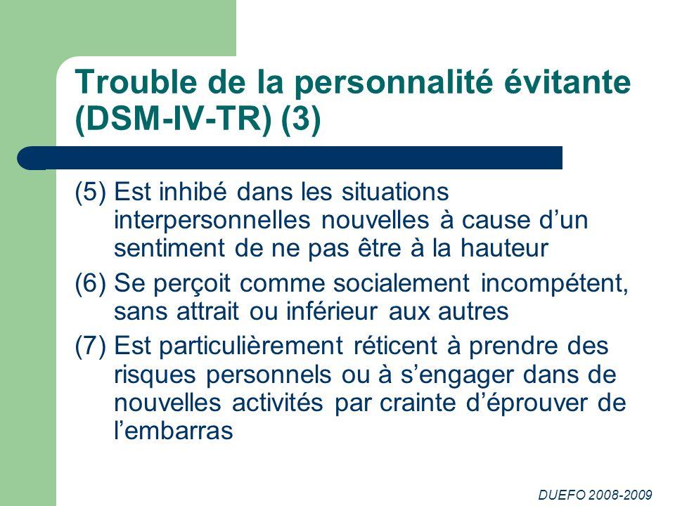 Trouble de la personnalité évitante (DSM-IV-TR) (3)