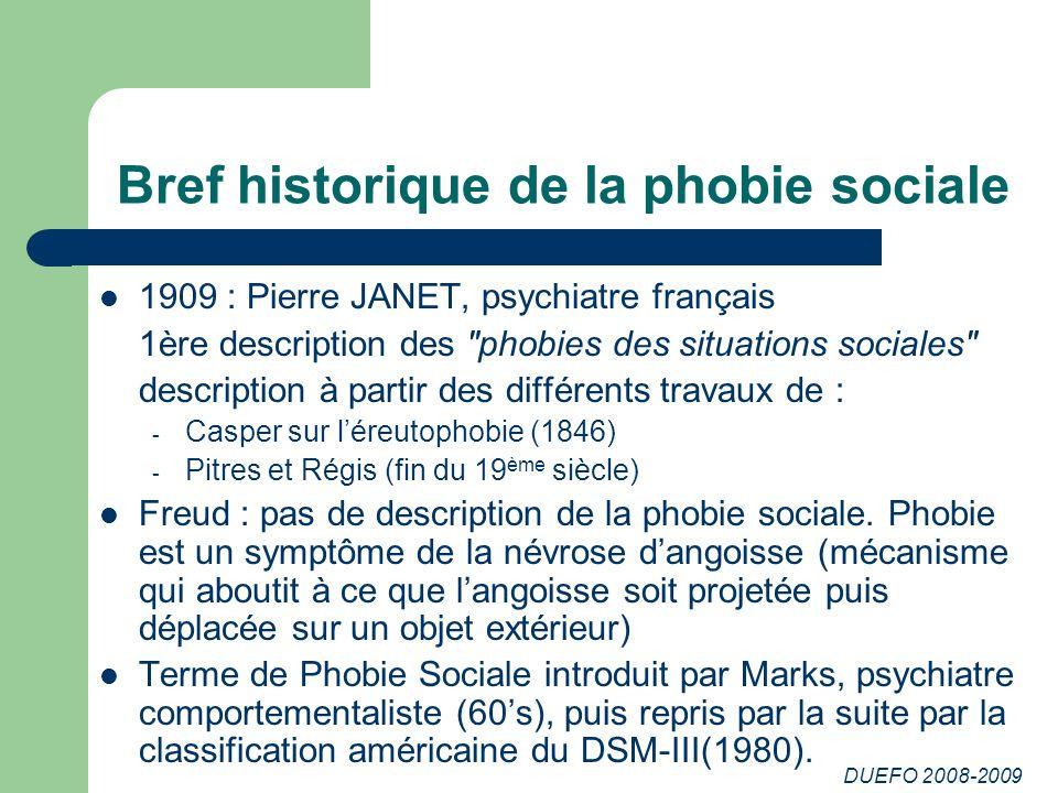 Bref historique de la phobie sociale