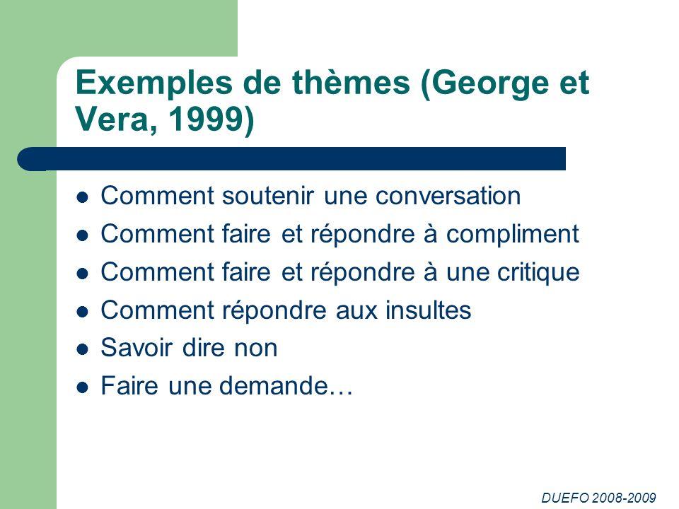 Exemples de thèmes (George et Vera, 1999)