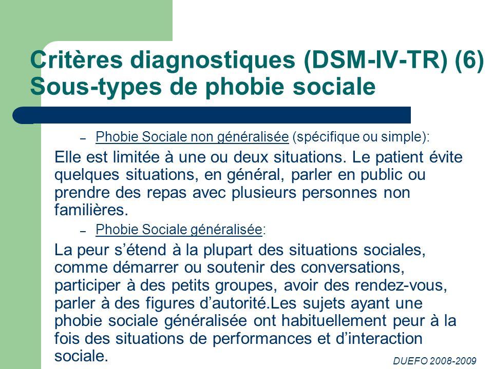 Critères diagnostiques (DSM-IV-TR) (6) Sous-types de phobie sociale