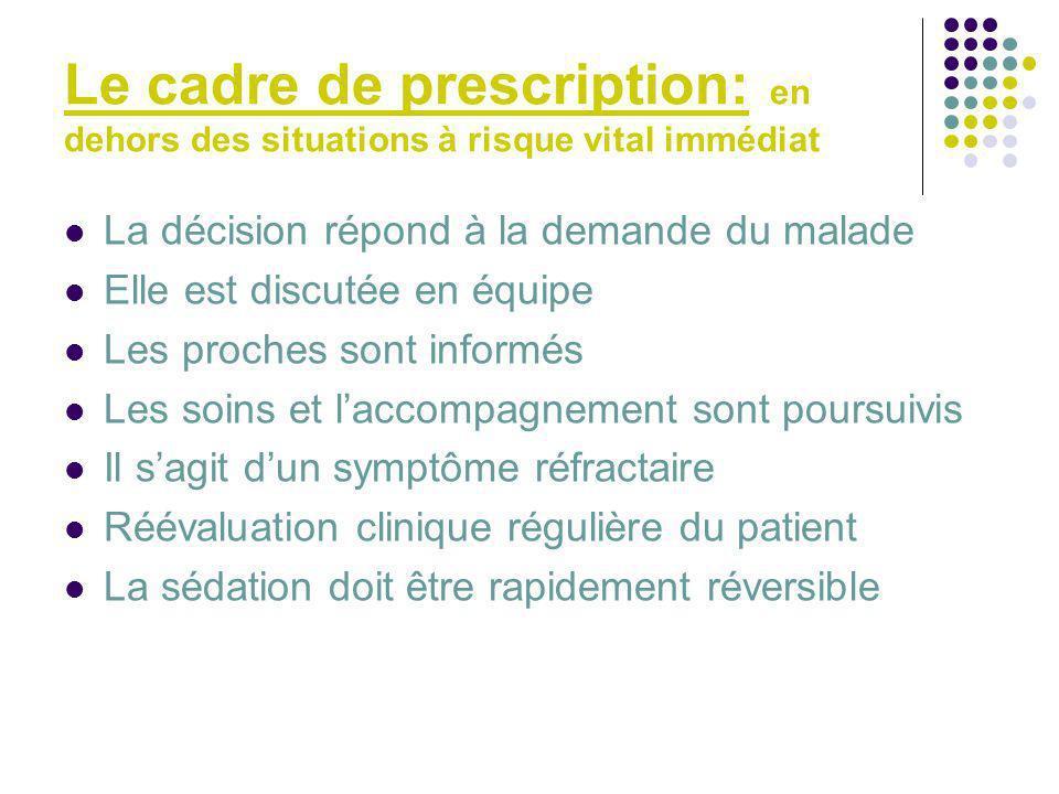 Le cadre de prescription: en dehors des situations à risque vital immédiat