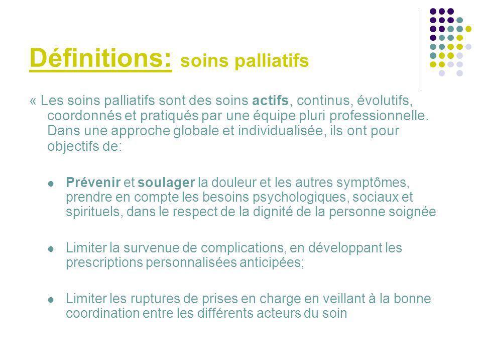 Définitions: soins palliatifs
