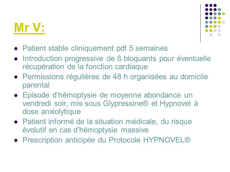 Mr V: Patient stable cliniquement pdt 5 semaines
